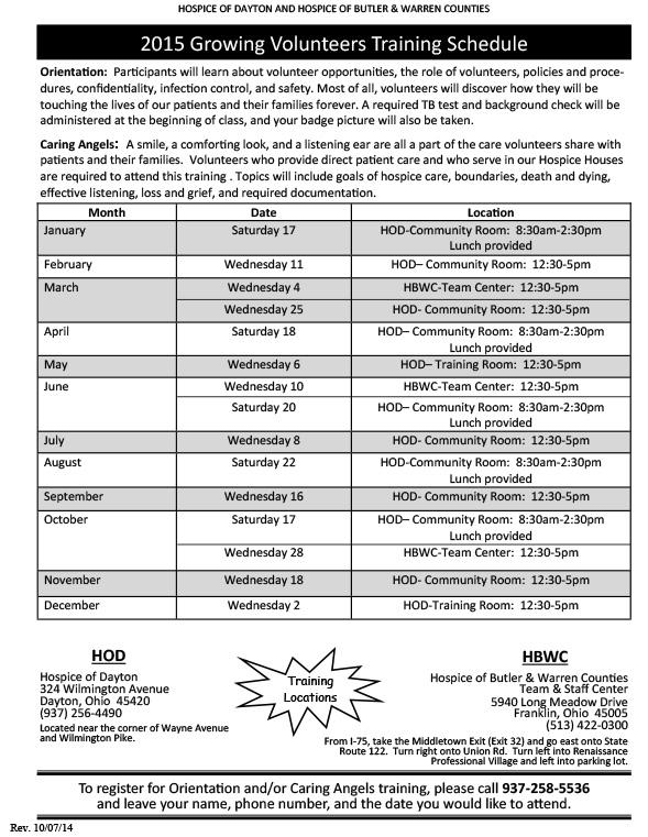 Growing Volunteers Training Schedule 2015