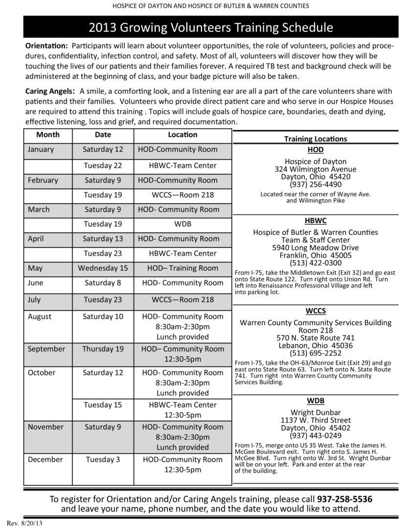 Growing Volunteers Training Schedule 8-20-13 | Hospice of Dayton