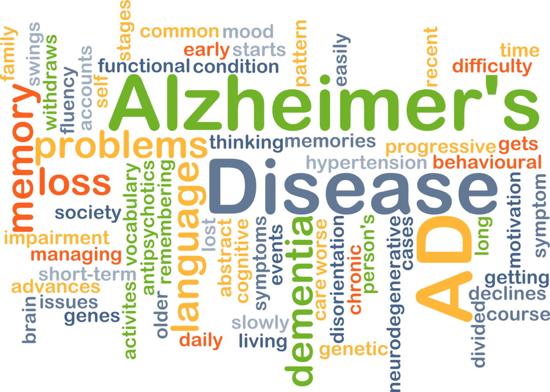 Background concept wordcloud illustration of Alzheimer's disease