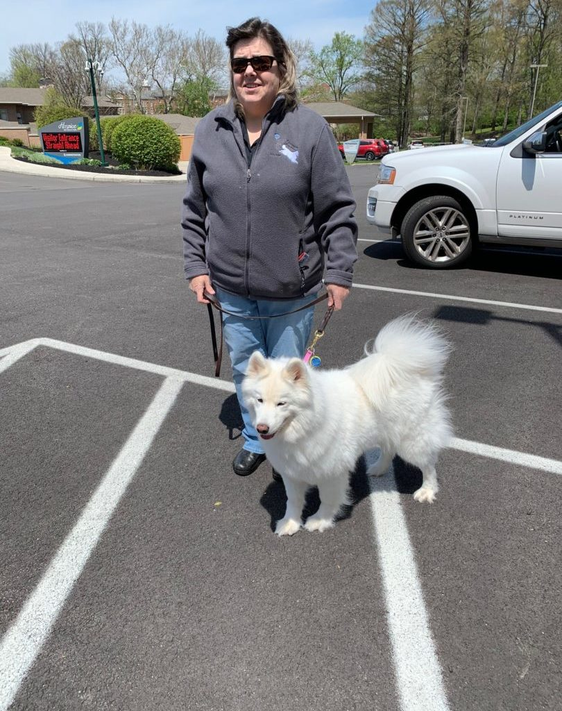 Volunteer Jane Adams and her dog Stormy